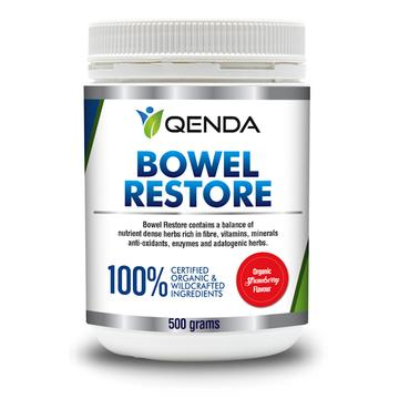 "Bowel Restore ""Strawberry Flavour"" - ""Qenda"" 100% Organic or Wildcrafted. 500gms."